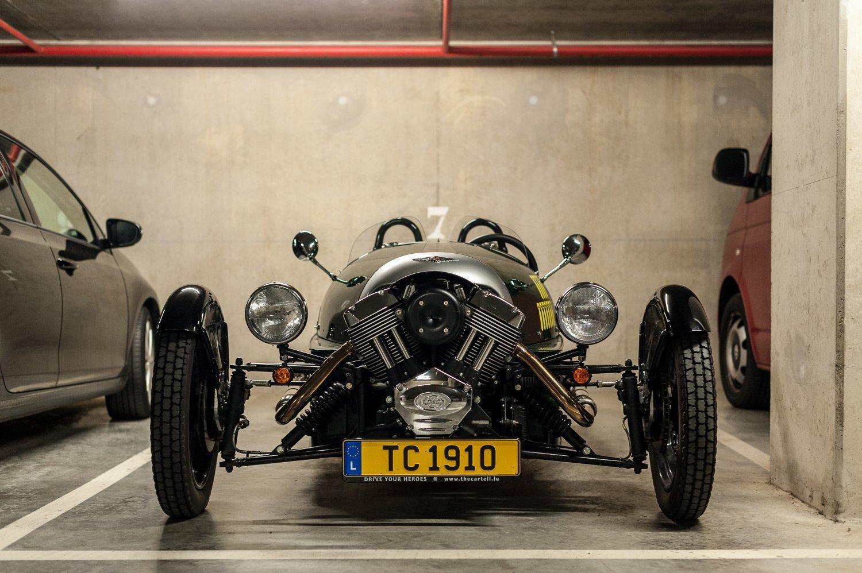 Our 3 wheeler in a parking garage