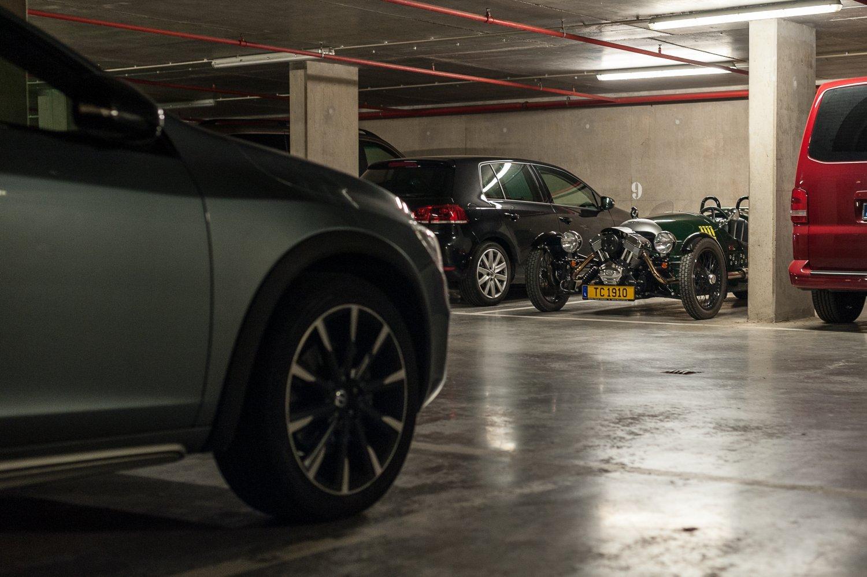 Our Morgan 3 wheeler in an underground parking