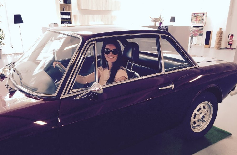 Marie driving the Fulvia