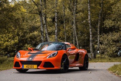 Lotus Exige S Roadster front in the woods
